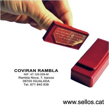 Segell de butxaca clip placa de text 50x20 mm.