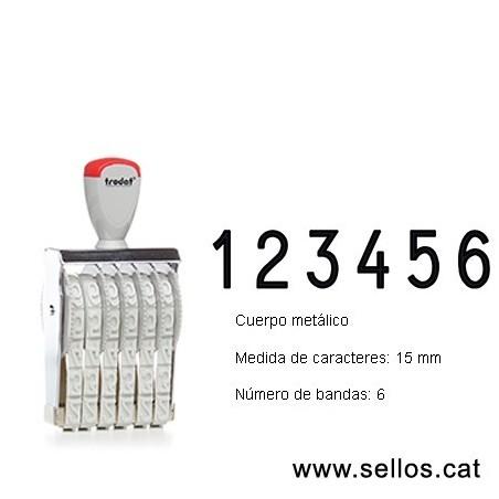 Numerador 6 bandas de 15 mm.