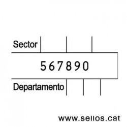 Numerador Reiner de 6 xifres amb placa 45 x 25 mm.